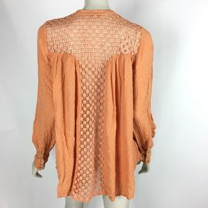 Free People Womens Small Peach Crochet Back Shirt